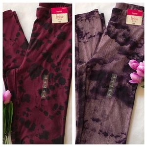 Two leggings size small colors purple and ruby